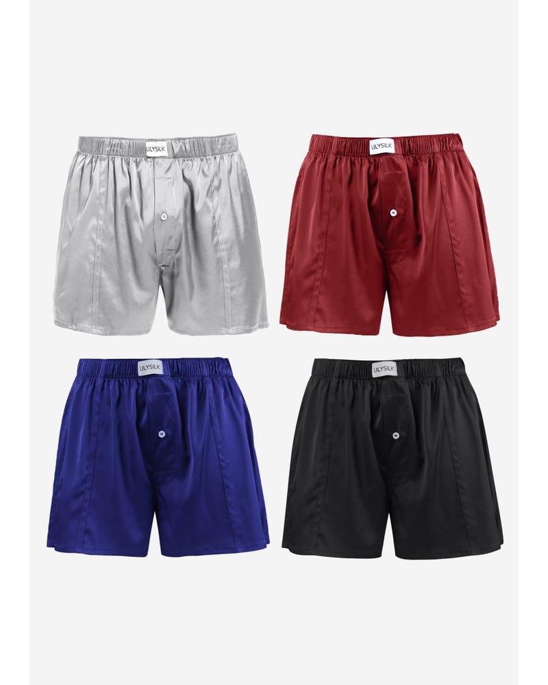 Luxury Fitted Draping Silk Boxer For Men 4 Pack(Random Color)