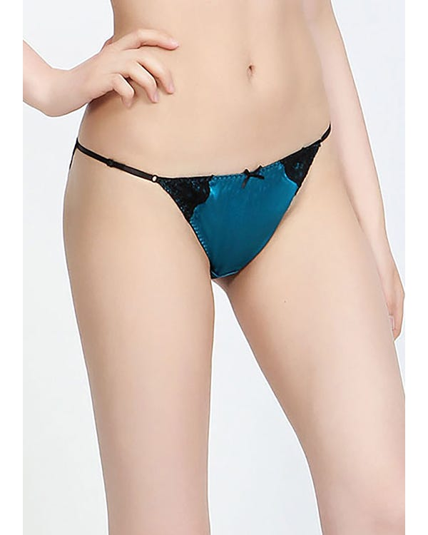 Sexy Silk Thong With Lace Dark Teal S