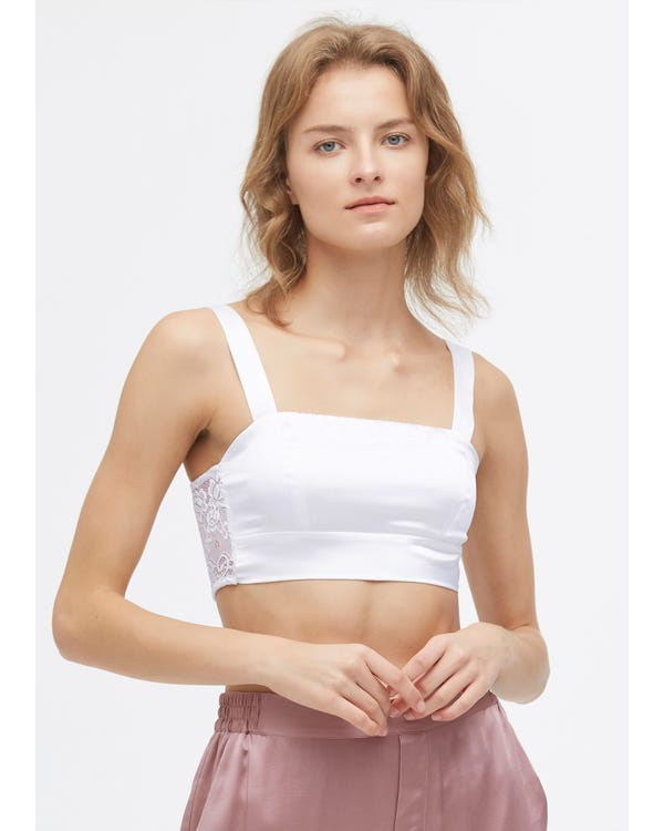 Elegant Seamless Silk Bra With Lace White XXL-hover