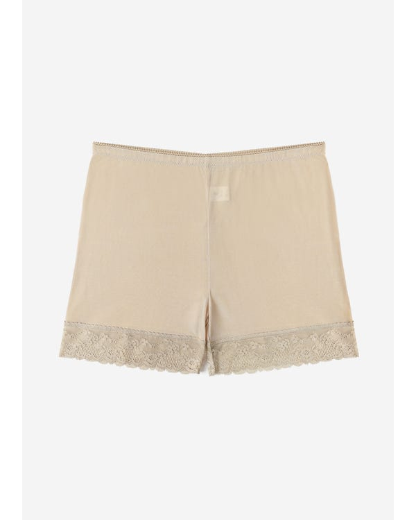 Comfortable Silk Knitted Panty With Lace Trim beige-w18 M