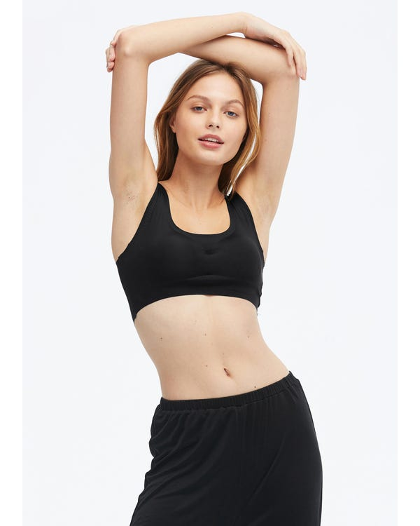 Sports Seamless Silk Bra Vest Black M-hover