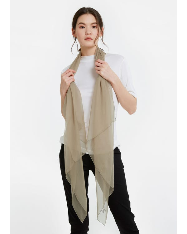 Elegant Solid Color Silk Chiffon Scarf