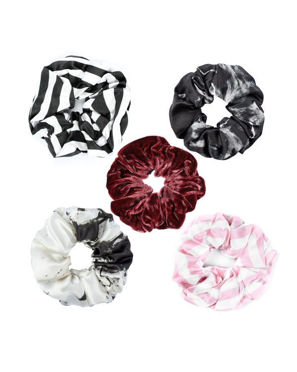 5 Pack Flower Silk Hair Scrunchies (Random Color)