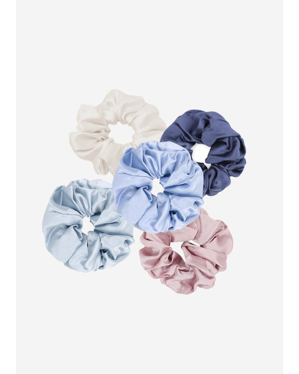 5 Pack Flower Silk Hair Scrunchies (Random Color)-hover
