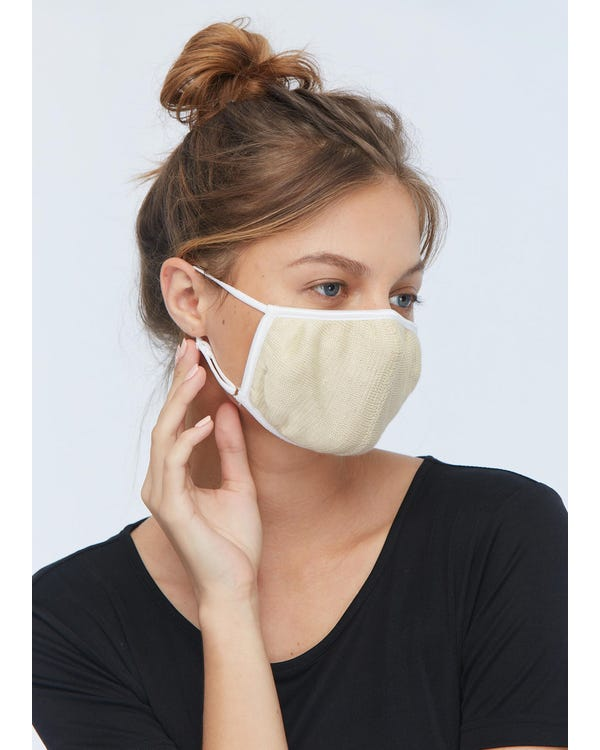Soft Silk Knitted Mouth Mask Beige 1-Pack