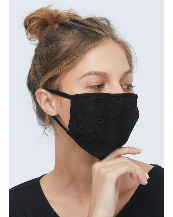 Breathable Lace Mouth Silk Masks Black 1-Pack