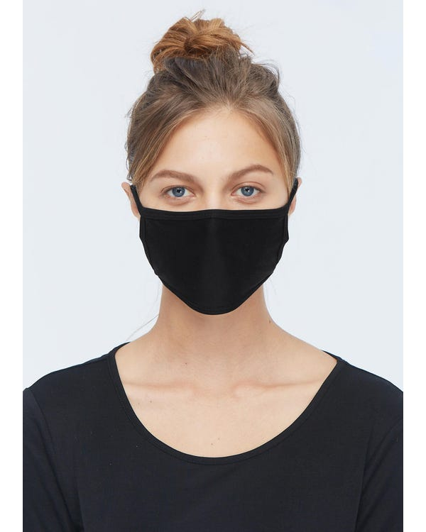 Breathable Face Mouth Silk Mask Black 5-Packs