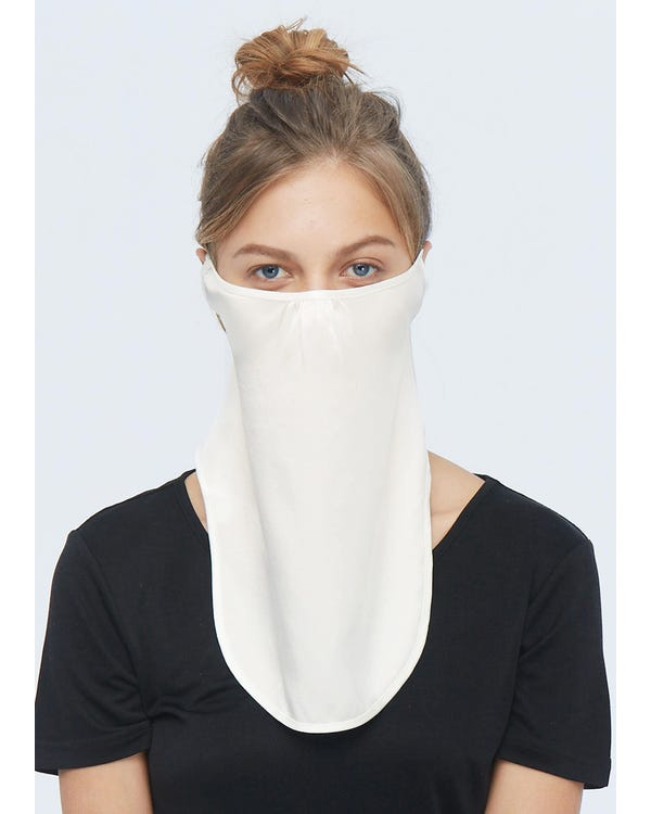 Breathable Sun Protection Silk Face Mask Ivory One Size