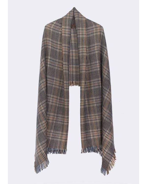 Classic Plaid Fringed Wool Scarf