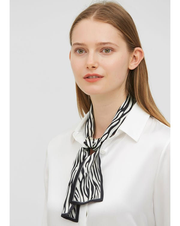 Zebra Stripe Rectangle Silk Scarf-hover