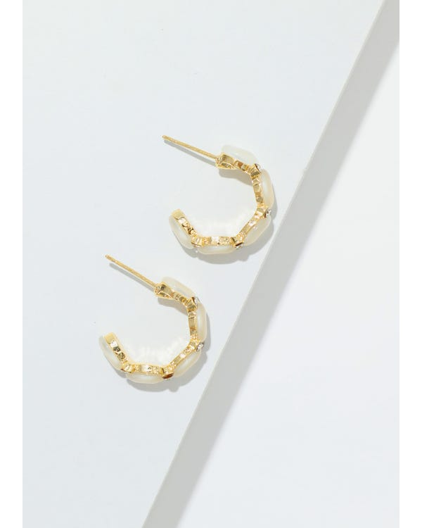 Gold Plated Modern Stud Earrings-hover