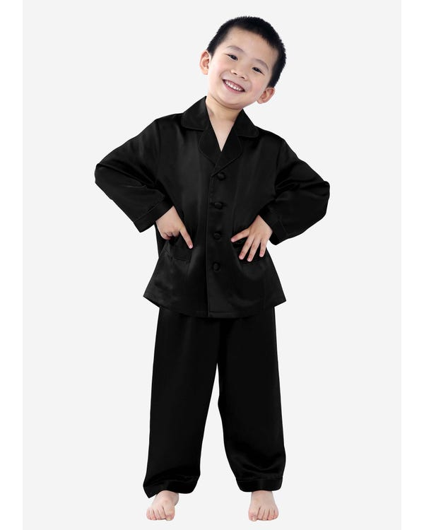 Silk Button Down Pajama For Boys Black 130