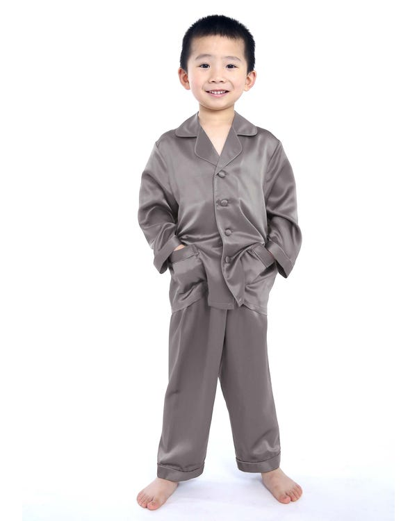 Silk Button Down Pajama For Boys-hover