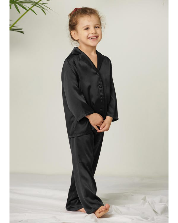 Classic Pure Color Silk Pajamas Set for Kids Black 130