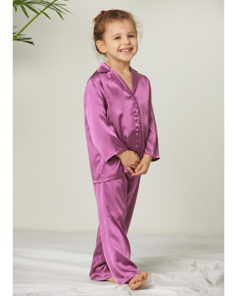 Classic Pure Color Silk Pyjamas Set For Kids