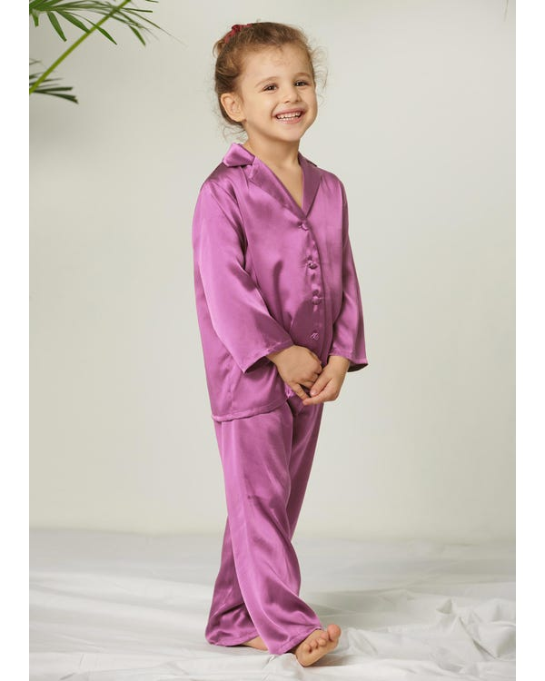 Classic Pure Color Silk Pajamas Set for Kids