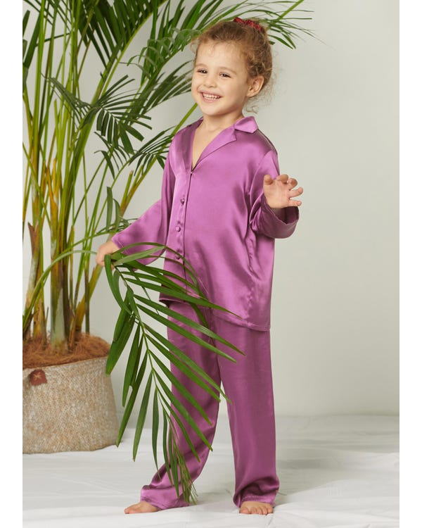 Classic Pure Color Silk Pajamas Set for Kids-hover