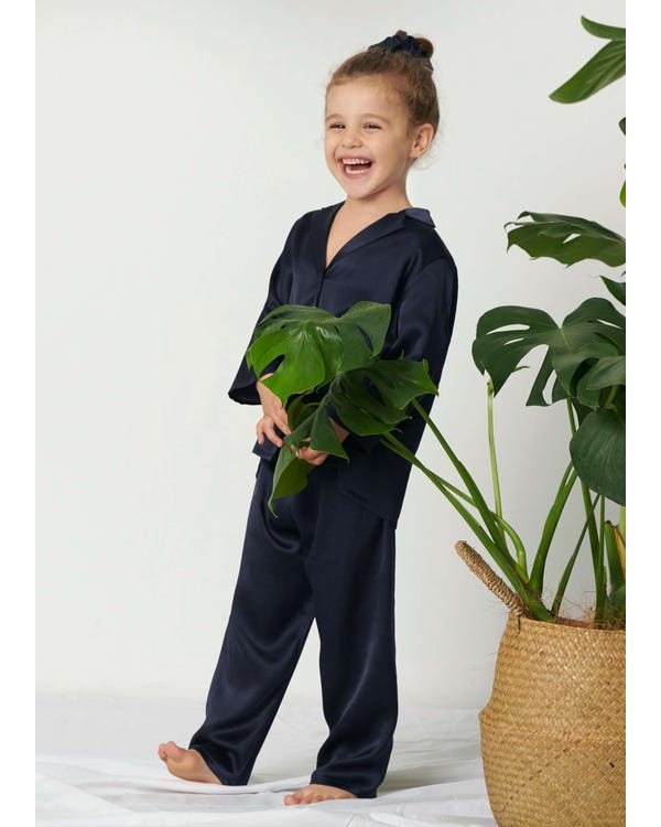 Classic Pure Color Silk Pajamas Set for Kids Navy Blue 120