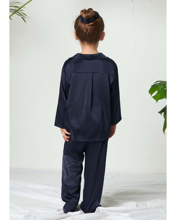 Classic Pure Color Silk Pajamas Set for Kids Navy Blue 120-hover