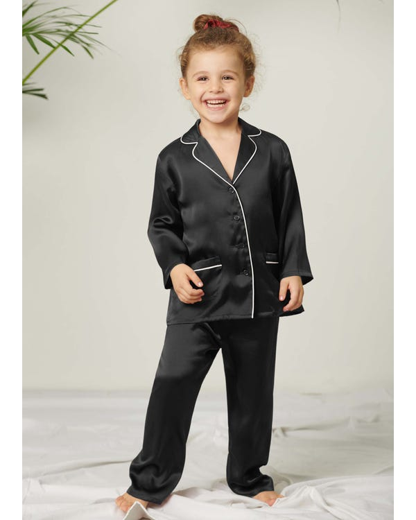 Classic Silk Pajamas Set For Kids Black 130
