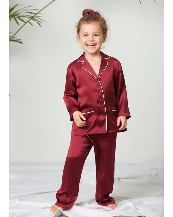 Classic Silk Pajamas Set For Kids