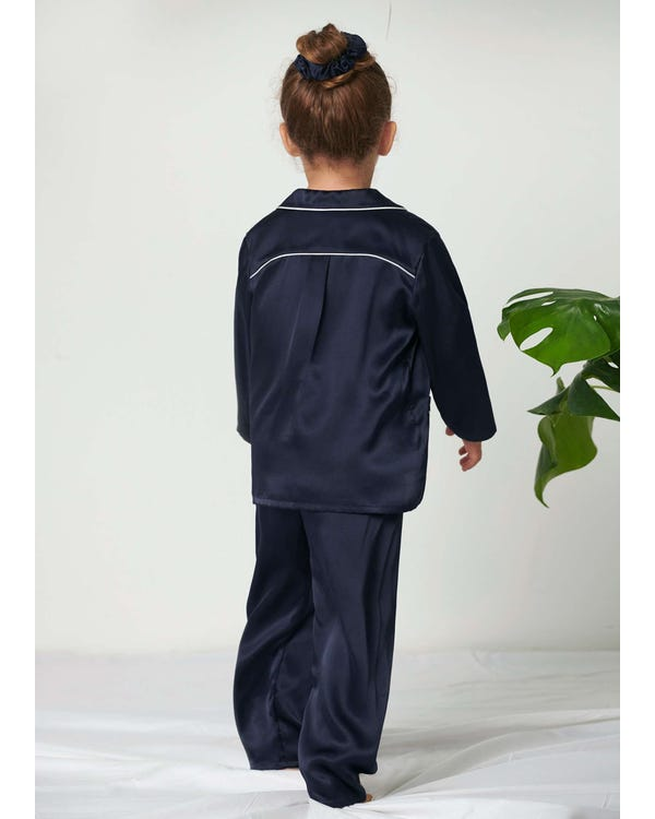 Classic Silk Pajamas Set For Kids Navy Blue 120-hover
