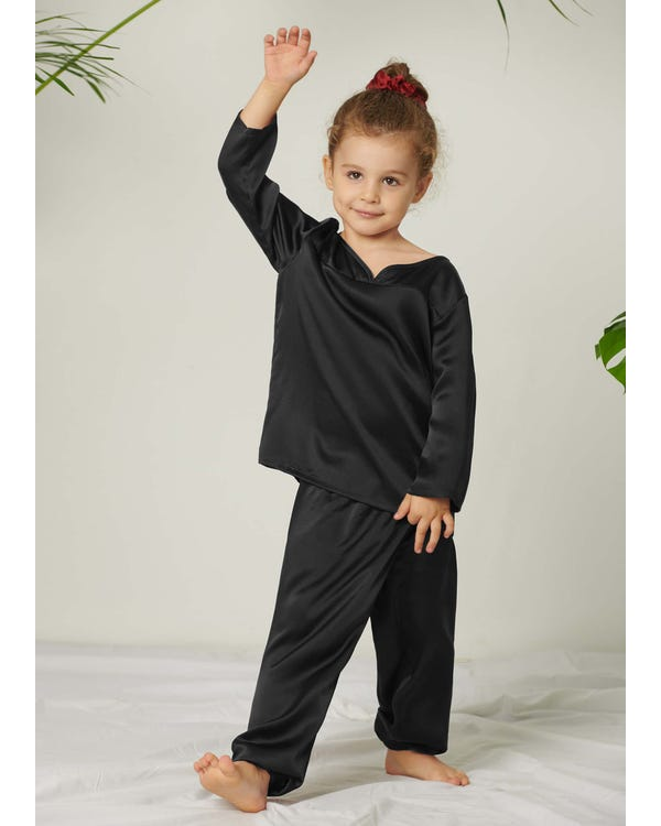 Pullover Silk Pajama Set For Kids Black 130