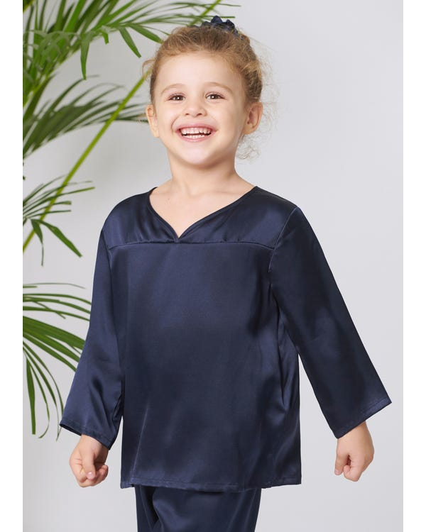 Pullover Silk Pajama Set For Kids