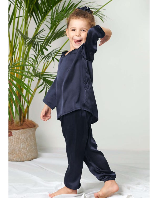 Pullover Silk Pajama Set For Kids Navy Blue 120
