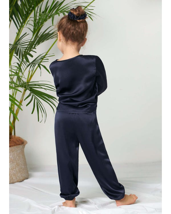 Pullover Silk Pajama Set For Kids Navy Blue 120-hover
