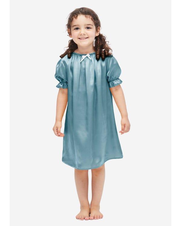Klassieke Zijden Nachtjapon Voor Kinderen Blue-Haze S