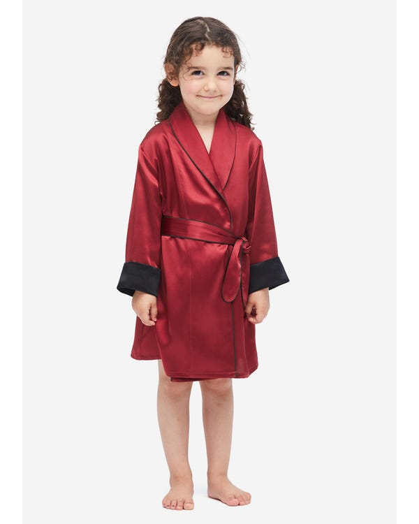 Children's Silk Robe With Contrast Piping Claret 140
