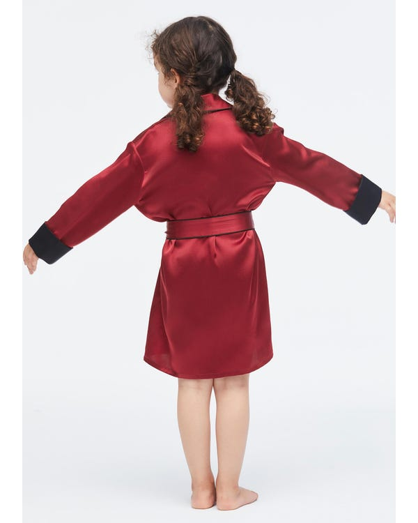 Children's Silk Robe With Contrast Piping Claret 140-hover