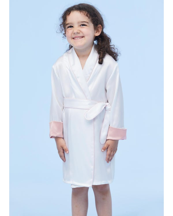 Children's Silk Dressing Gowns With Contrast Piping White 110