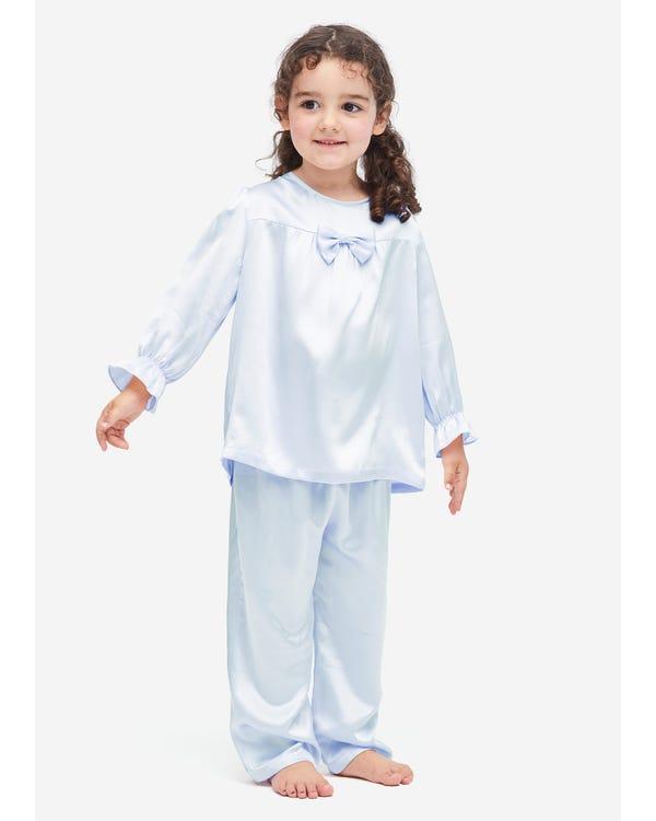 Klassieke Zijden Pyjama Voor Kinderen Met Strik Light Sky Blue S