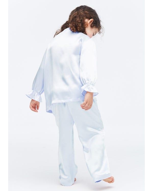 Klassieke Zijden Pyjama Voor Kinderen Met Strik Light Sky Blue S-hover