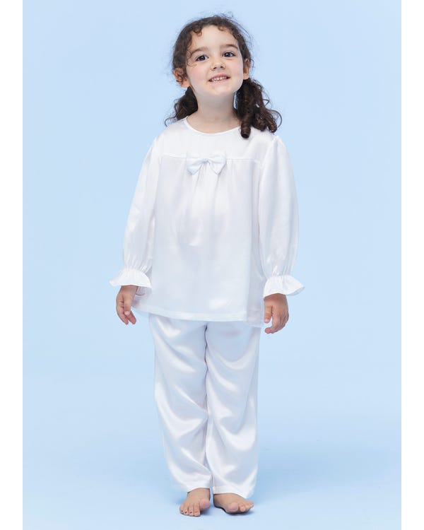 Classic Silk Pajamas For Kids With Bow