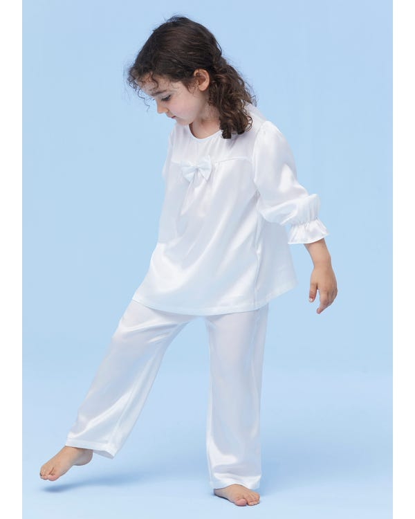 Classic Silk Pajamas For Kids With Bow-hover