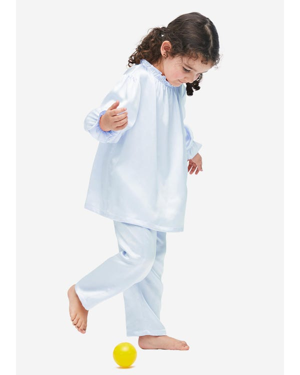 Silk Ruffle Trim Pajamas For Kids