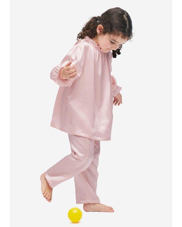 Silk Ruffle Trim Pajamas For Kids Rosy Pink 140