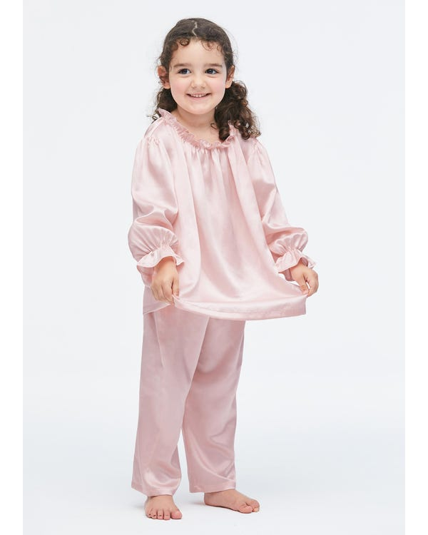Silk Ruffle Trim Pajamas For Kids Rosy Pink 140-hover