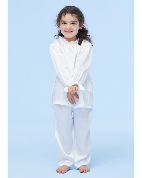 Silk Ruffle Trim Pyjamas For Kids White 110