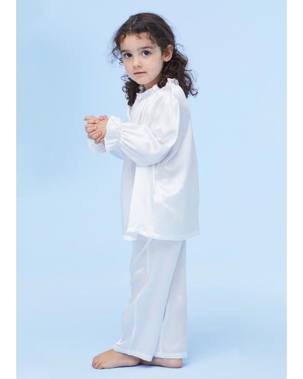 Silk Ruffle Trim Pyjamas For Kids White 110-hover