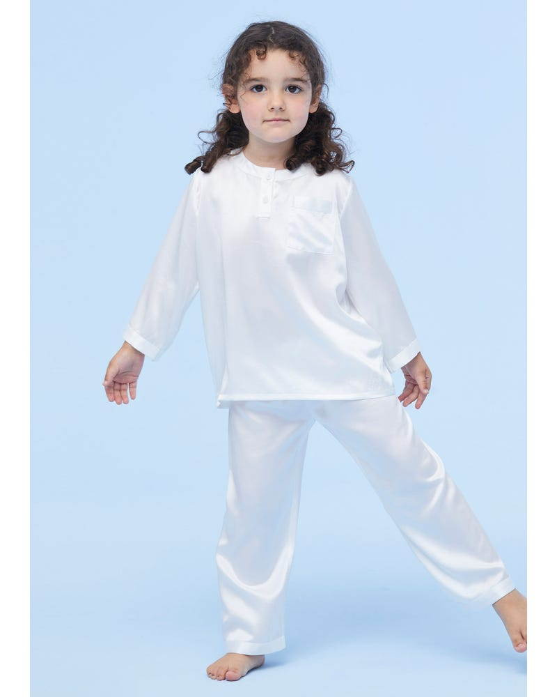Classic Round Neck Silk Pyjamas For Kids