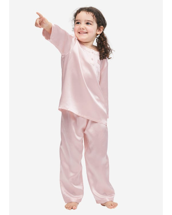 Classic Round Neck Silk Pajamas For Kids Rosy Pink 140