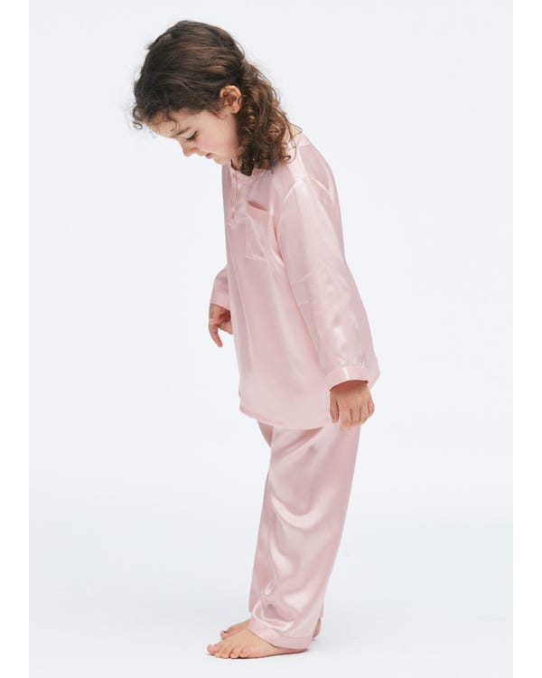 Classic Round Neck Silk Pajamas For Kids Rosy Pink 140-hover
