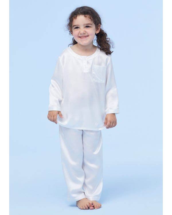 Classic Round Neck Silk Pajamas For Kids White 130