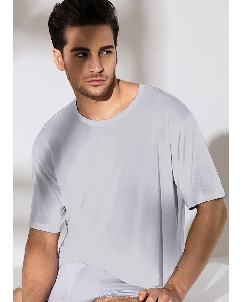 Classique T-shirt Homme En Soie Col Rond