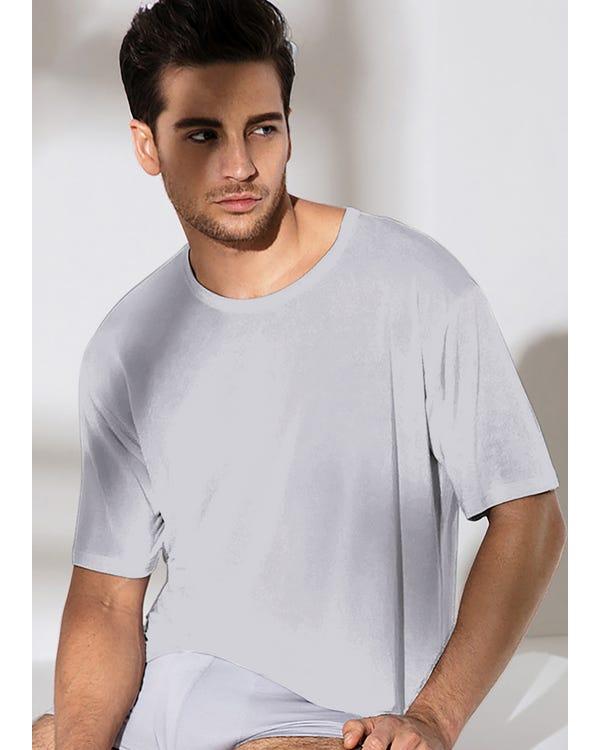 Heren Klassiek Zijden Zijden T-shirt Met Ronde Hals
