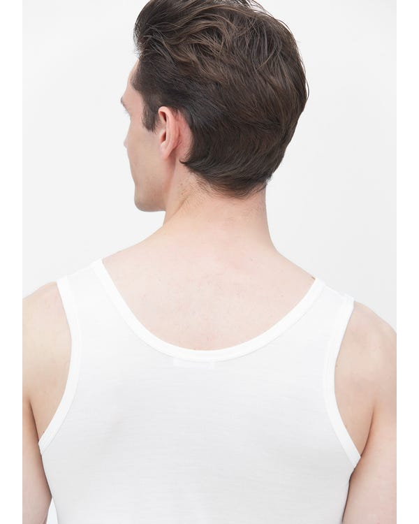 Mens Round Neck Sleeveless Silk Tank Top-hover